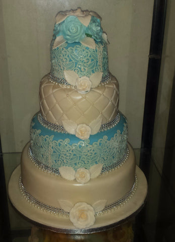 4 Tier Lace & Roses Wedding Cake