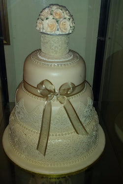 3 Tier Wedding Cake With Elegant Lace
