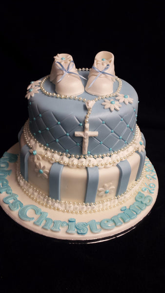 2 Tier  Christening Cake with Booties and Crucifix