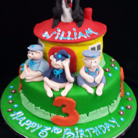 2 Tier  Little Pigs Children's  Birthday Cake