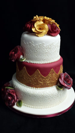 3 Tier Gold Lace and Roses Wedding Cake