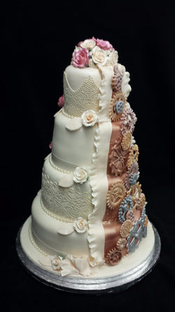 4 Tier Bride & Groom  Wedding Cake//