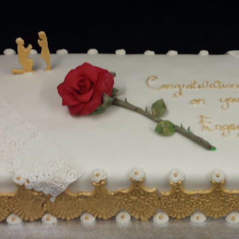 Large Rose Engagement Cake