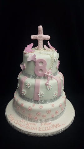 Three Tier Holy Communion Cake