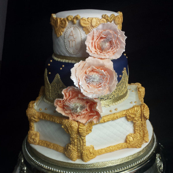 3 Tier Gold Hexagon Cake