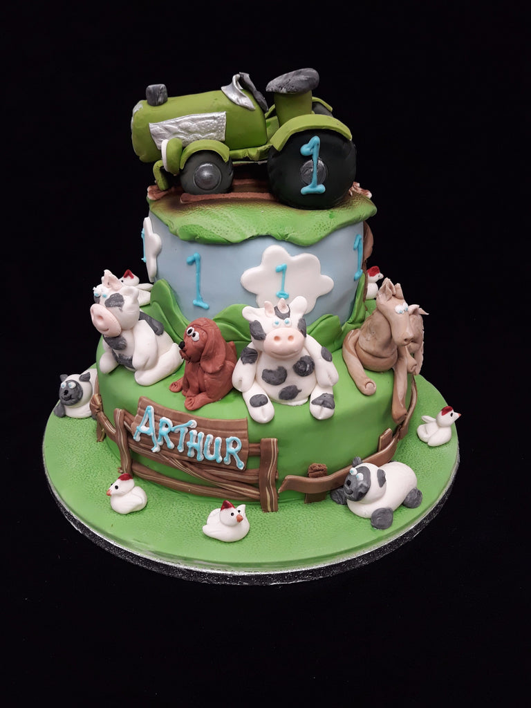 2 Tier Farm Animals Birthday Cake Celticcakes Com