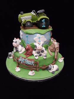2 Tier Farm Animals  Birthday Cake