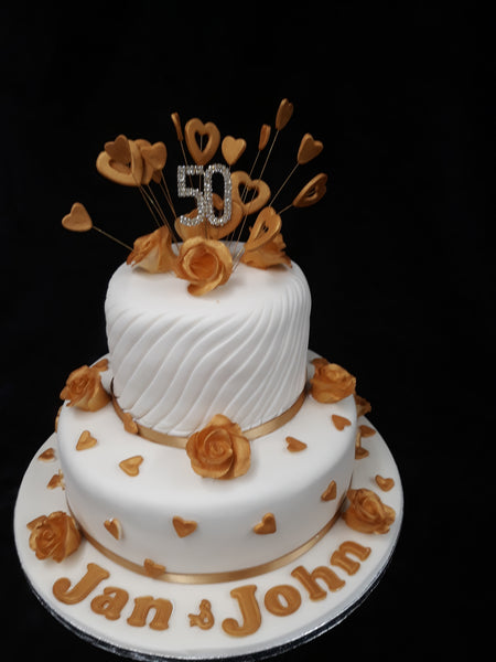 2 Tier Golden Wedding Cake