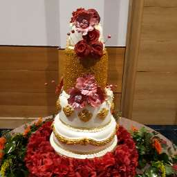 5 Tier Red Rose  Wedding Cake