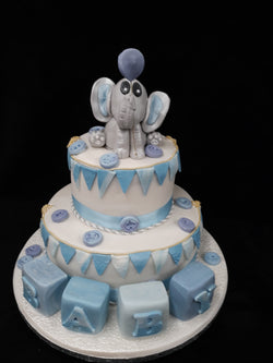 2 Tier Blue Baby Shower Cake