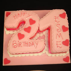 21st Hearts Numbered Birthday Cake