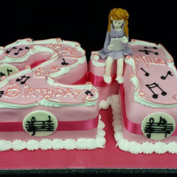 21st Numbered Birthday Cake -  Music theme