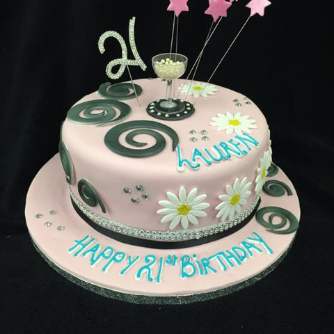 21st Pink Stars  Numbered Birthday Cake