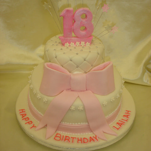 2 Tier Birthday Cake With Large Bow