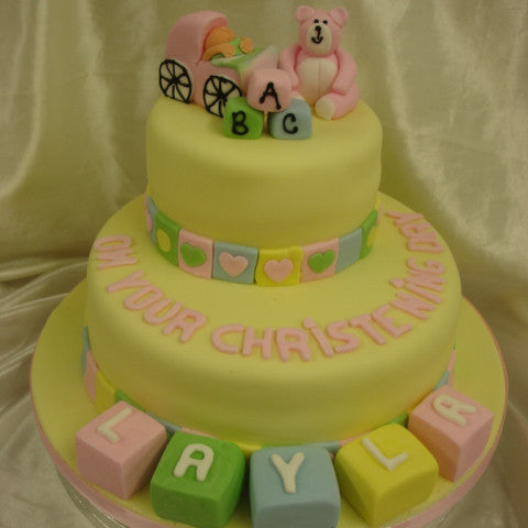 Two Tier Lemon Christening Cake