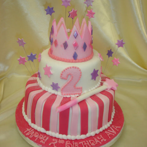 2 Tier Princess Crown Children's  Birthday Cake