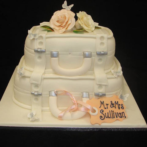 2 Tier Wedding Suitcase Cake