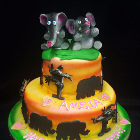 2 Tier  Elephants  Birthday Cake