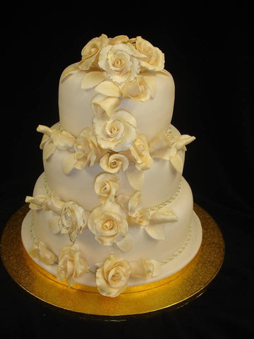 3 Tier  Gold Roses Wedding Cake
