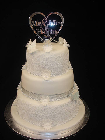 3 Tier  Lace cake with Plaque  Wedding Cake