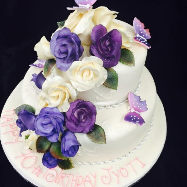 70th Purple And Cream Roses Birthday Cake