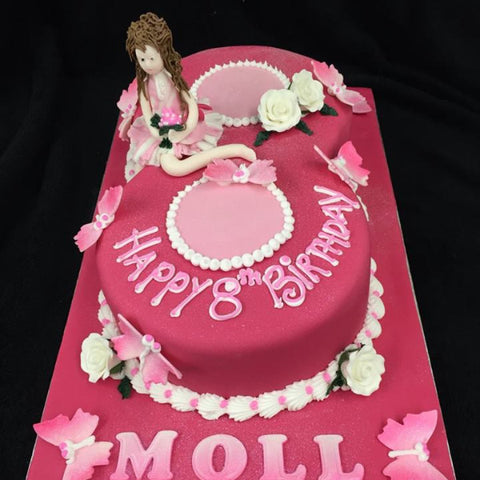 Childrens Pink 8th Birthday Cake