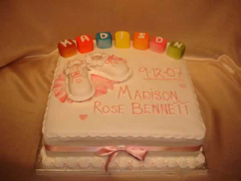 Christening Cake With Building Blocks