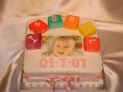 Christening Cake with blocks and picture