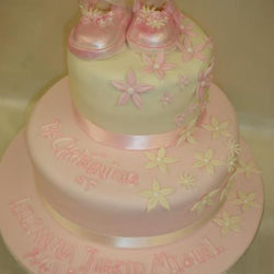 Two Tier Christening Cake with small flowers