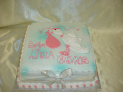 Christening Cake With Stork