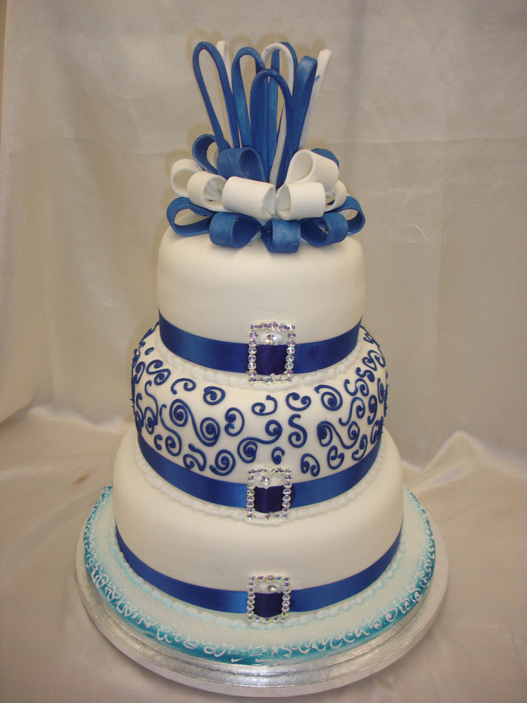 3 Tier Royal Blue Wedding Cake Celticcakes Com