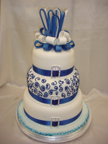 3 Tier  Royal Blue Wedding Cake