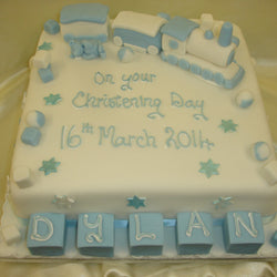 Large Christening Cake with blocks and train