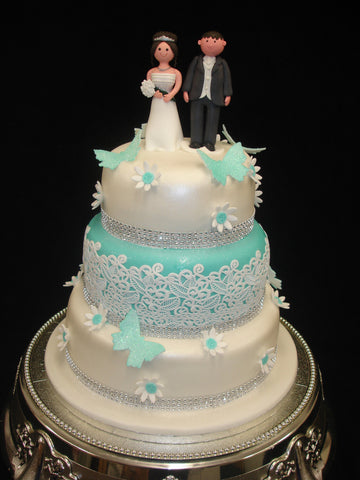 3 Tier  Lace & Butteflys  Wedding Cake