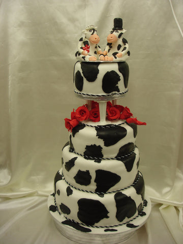 4 Tier Cow Wedding Cake