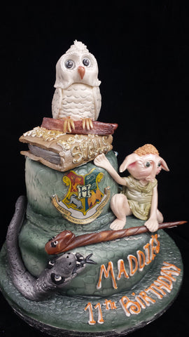 Two Tier Harry Potter Birthday Cake With Owl