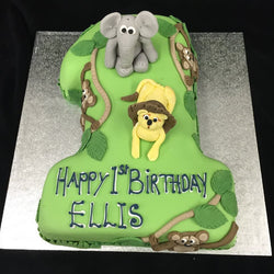 1st Elephant Numbered Birthday Cake