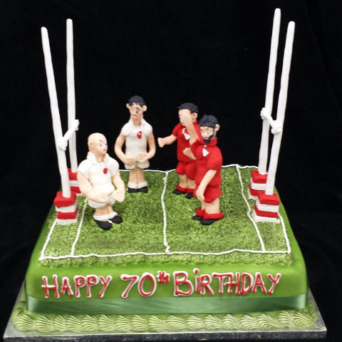 Rugby Pitch Birthday Cake