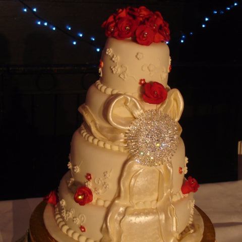 4 Tier Roses & Large Bow  Wedding Cake
