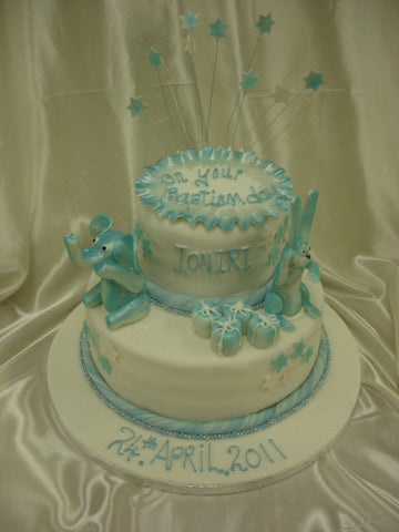 Two Tier Baptism Cake