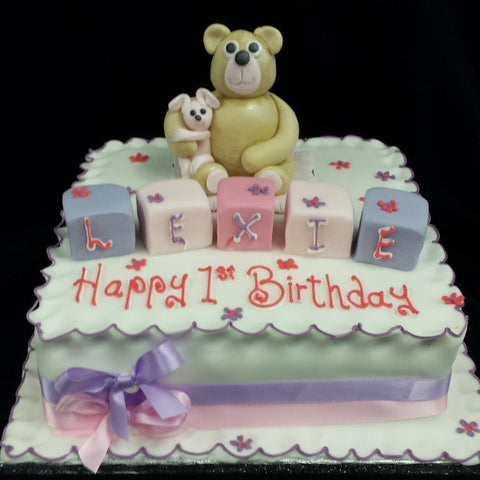 Teddy Bear & Blocks Childrens Birthday Cake