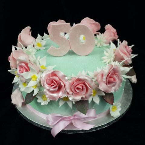 50th Birthday Cake With Rose Decoration Celticcakes