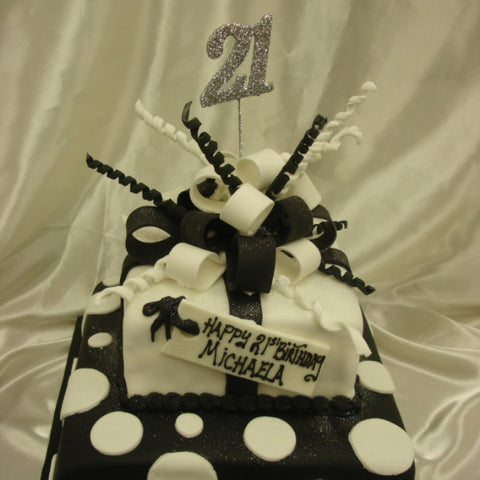 2 Tier Black & White Bow Birthday Cake
