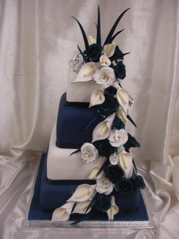 4 Tier Cascading Roses & Calla Lillies Wedding Cake