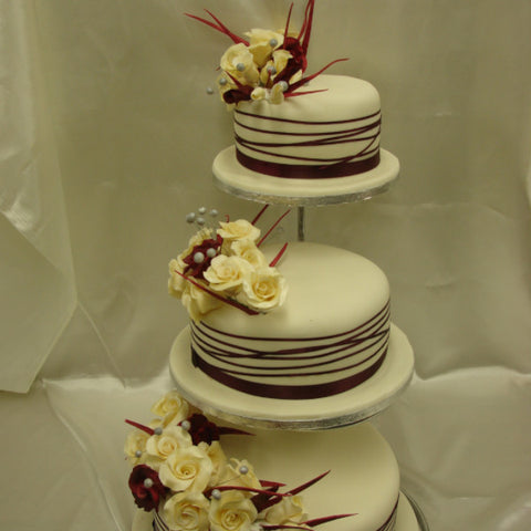 3 Tier  Ivory & Burgundy Rose Wedding Cake