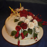 2 Tier Roses & Stargazer Lillys  Wedding Cake