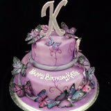 2 Tier Butterfly Birthday Cake