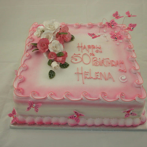 Rose & Butterfly Birthday Cake