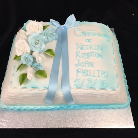 Christening Cake Blue Ribbon