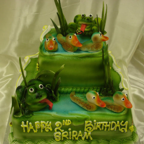 2 Tier Frogs  Birthday Cake